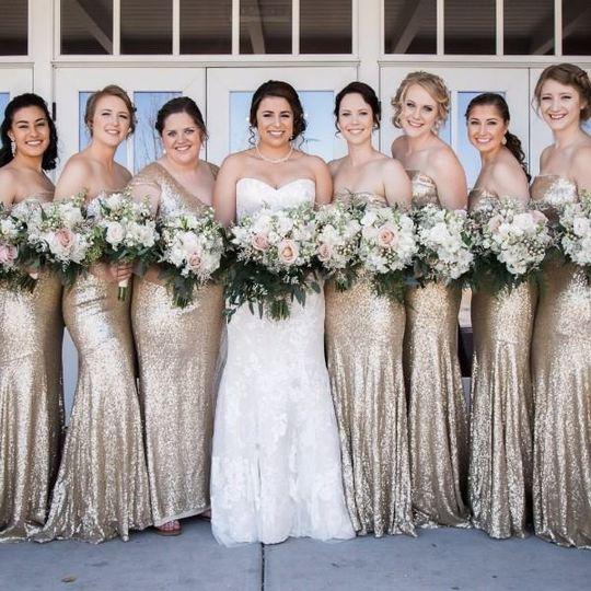 Bride and bridesmaids MoriLee