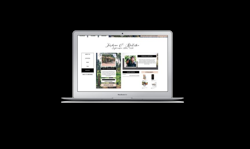 Wedding Website featuring:  - Group-funding wedding registry for any item, experience, or service -...