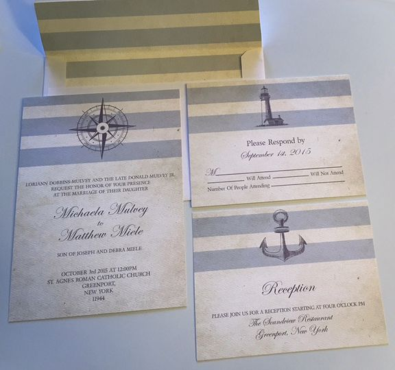 Blue nautical invitations