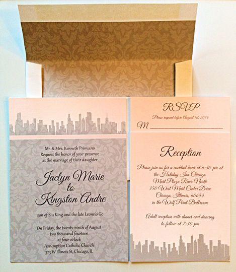 City damask invitations