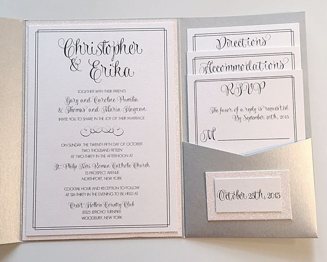 Glitter pocketfold invites