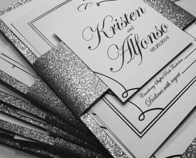 Glitter paper layered invites