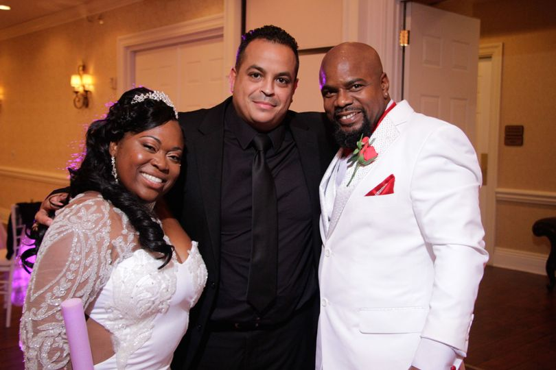 With the bride and groom