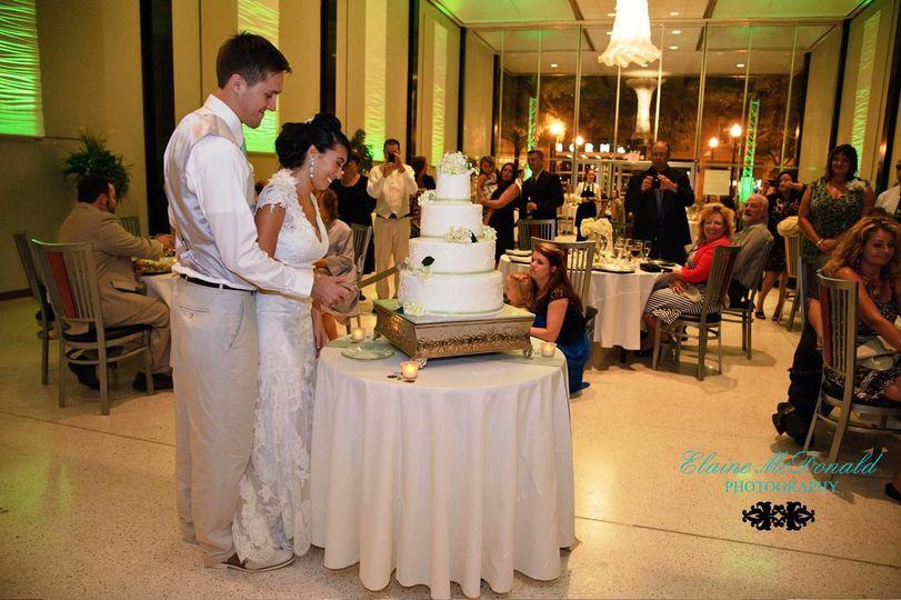 Slicing of wedding cake