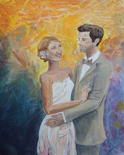 Couple's portrait painting with colorful background.
