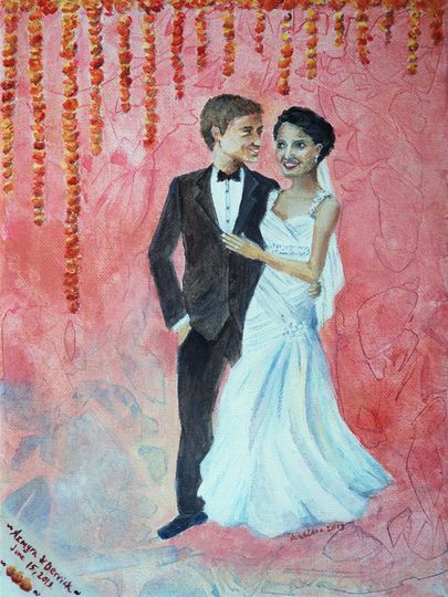pakistani american wedding portrait painting med res
