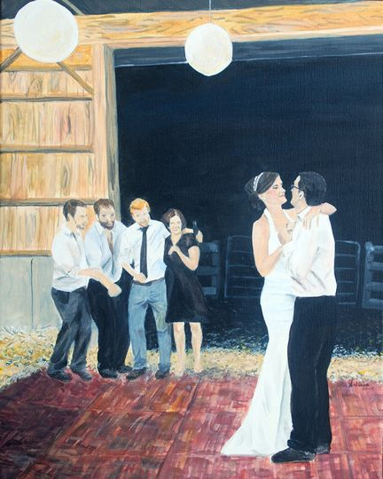 barn wedding portrait painting from photo small