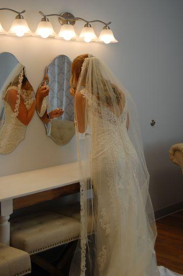 Bride's room vanity is 8 ft