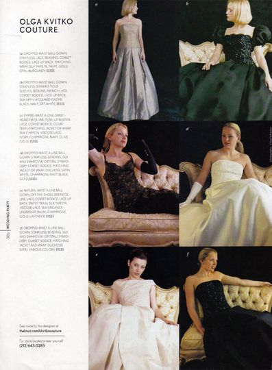 The Knot magazine page featured Olga Kvitko Couture ball gowns