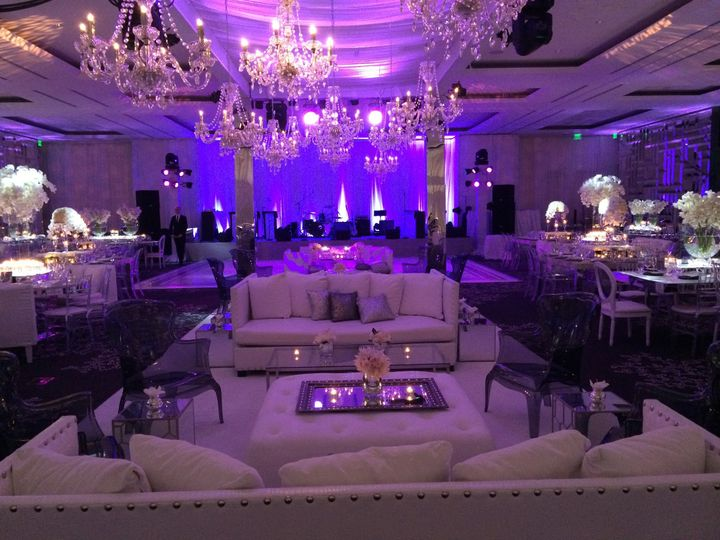 Reception with chandeliers