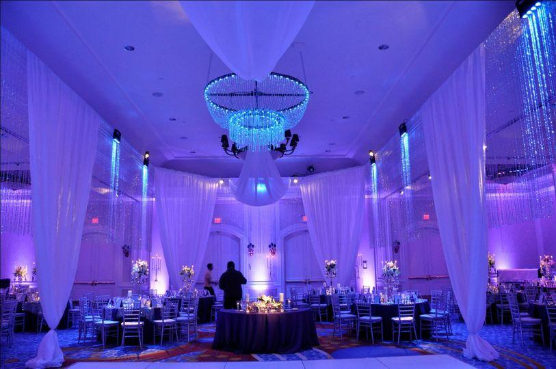 Elegant chandelier and drapery