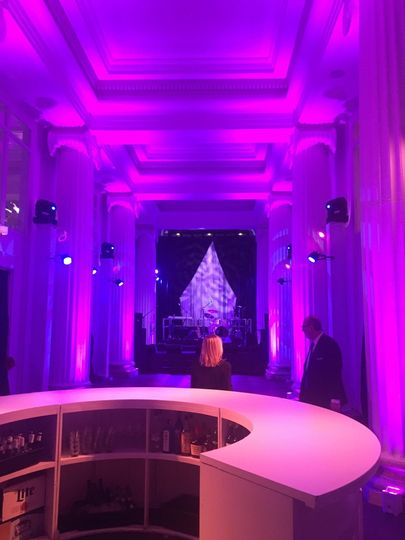 Purple lighting in event space