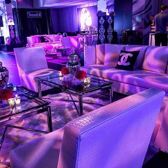Classy event with purple lighting