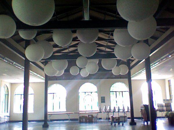 Round, white lanterns