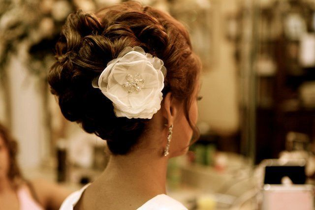 Updo with flower decoration