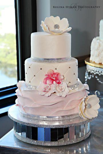 pink flower ruffle cake