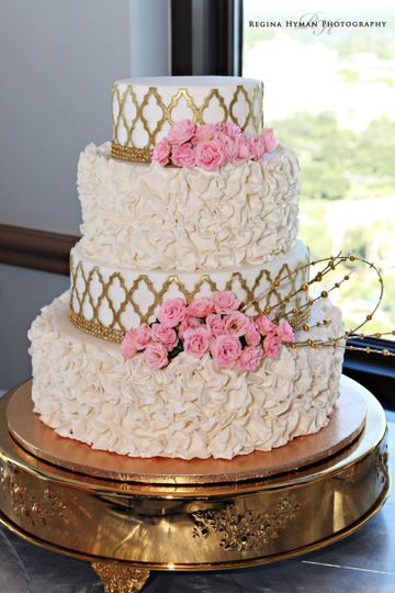 800x800 1445556259594 Pink Flowered And Gold Ruffle Cake