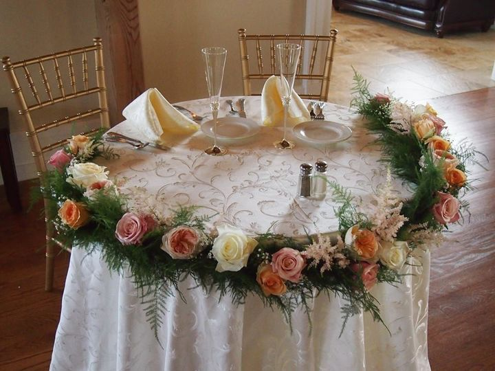 Round table with flowers