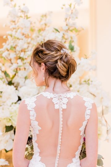 Beautiful lace dress and neat updo