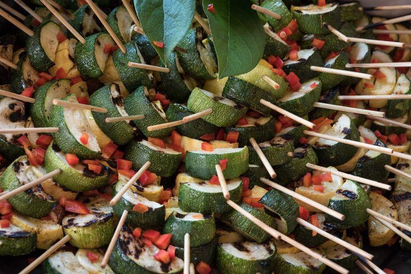 Roasted vegetable skewers with tarragon aioli