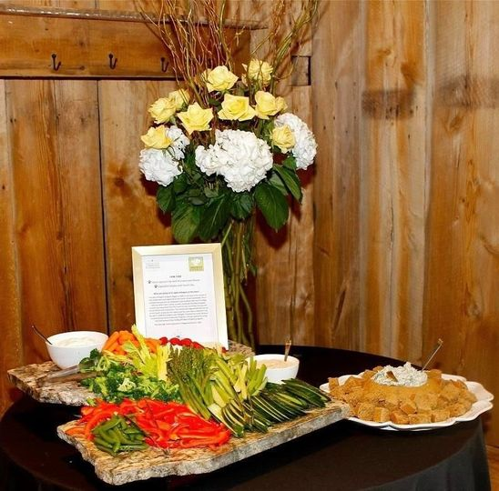 Vegetable display with ranch dip