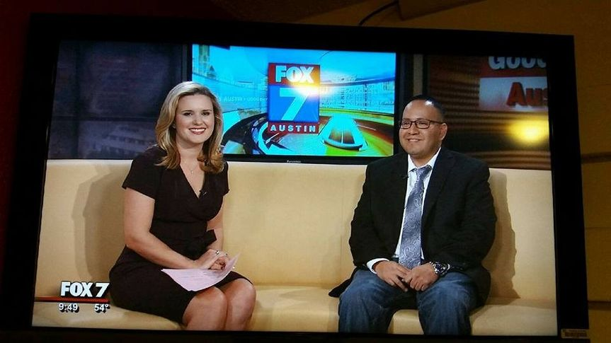 Jason, of Austin's Best DJs, being interviewed about wedding planning tips, on Good Day Austin, on...
