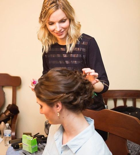 Bride and her hairstylist