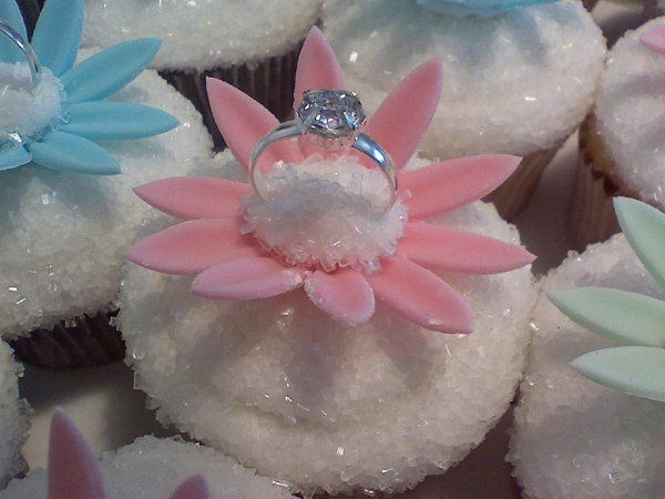 Engagement ring cupcakes.  Perfect for engagement party.