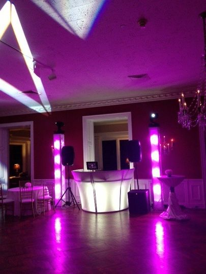 DJ setup and lighting