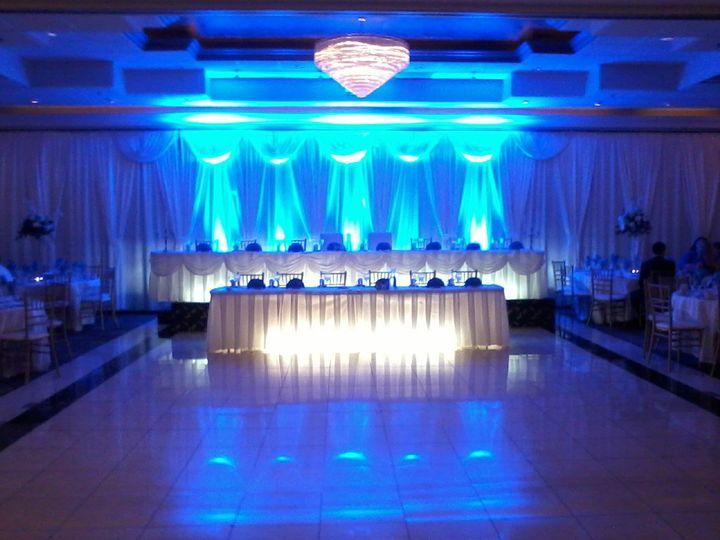 Blue uplighting behind the head table