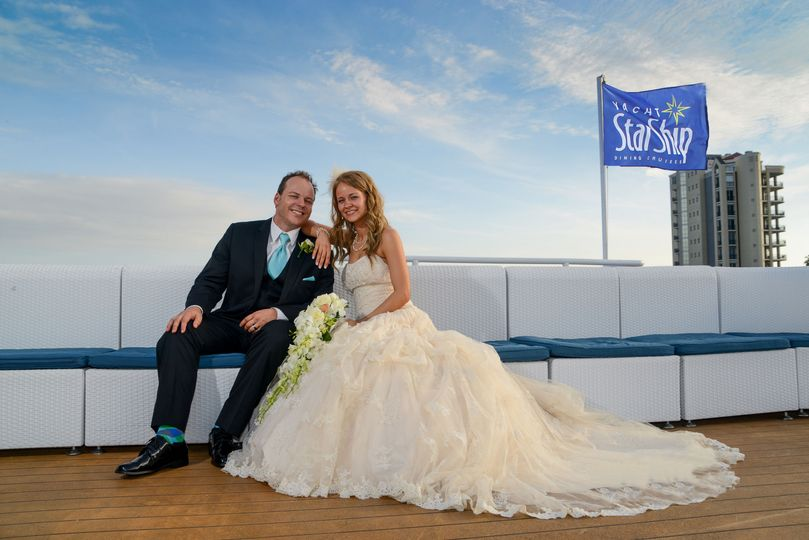 Newlyweds on the yacht
