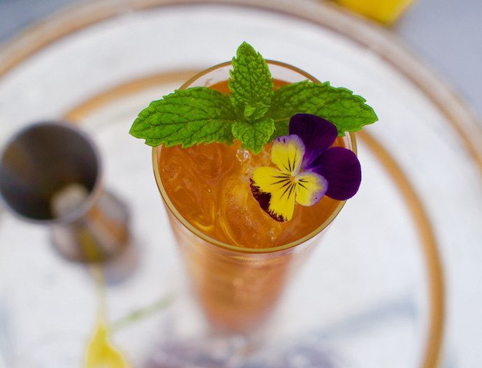 Our famous Pimm's Cup with fresh ginger and foraged botanicals.