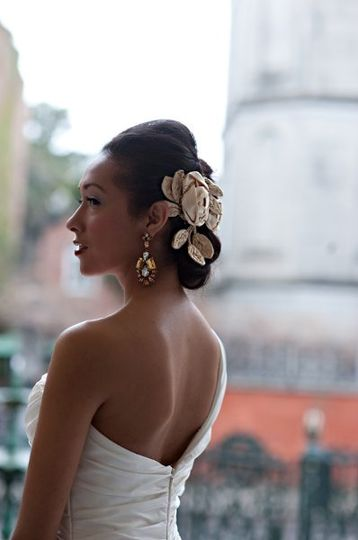 Bridal updo and flowers