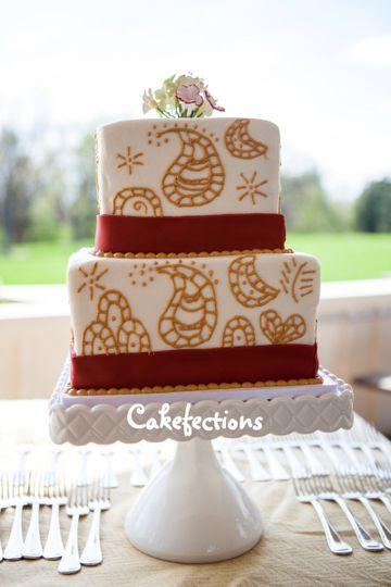 redgoldweddingcake