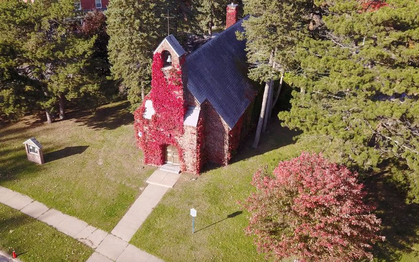 Old Base Chapel Plattsburgh, NY - Aerial View