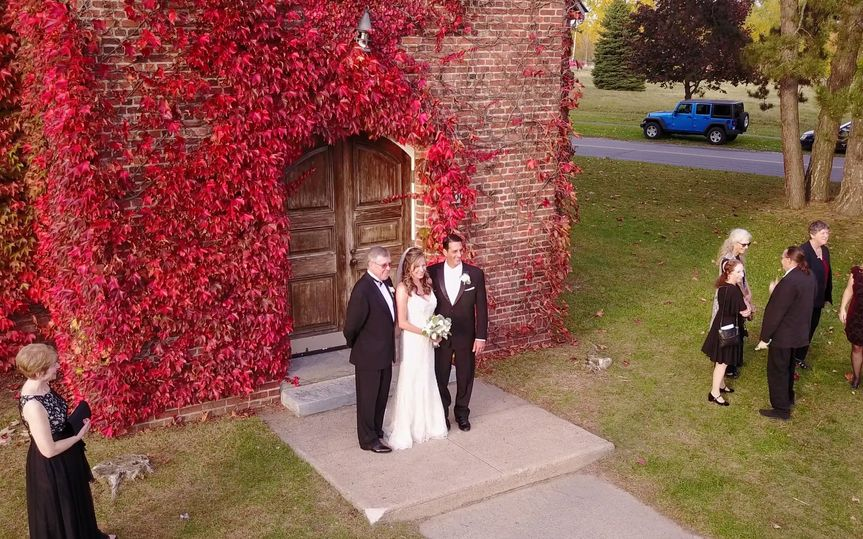 Old Base Chapel Plattsburgh, NY - Aerial View.  Bride & Groom w/ Father