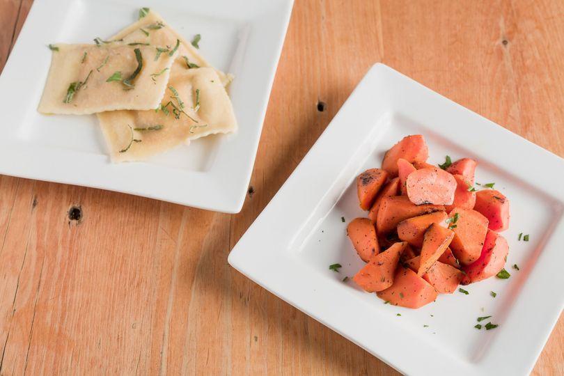 Ravioli and vegetables