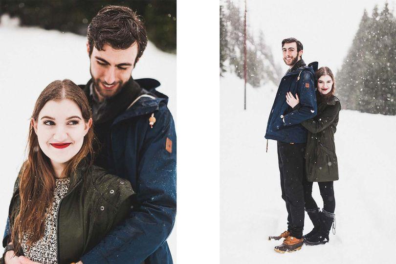 snoqualmie pass engagement session snow luma weddi