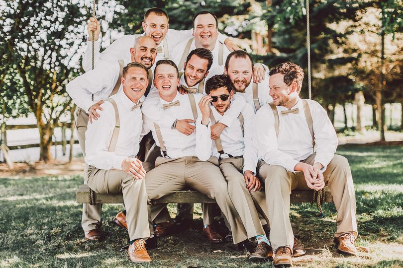 A group of dapper groomsmen at Wandering Waters, Snohomish. Photography by Luma Weddings.