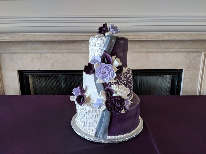Half white and half purple