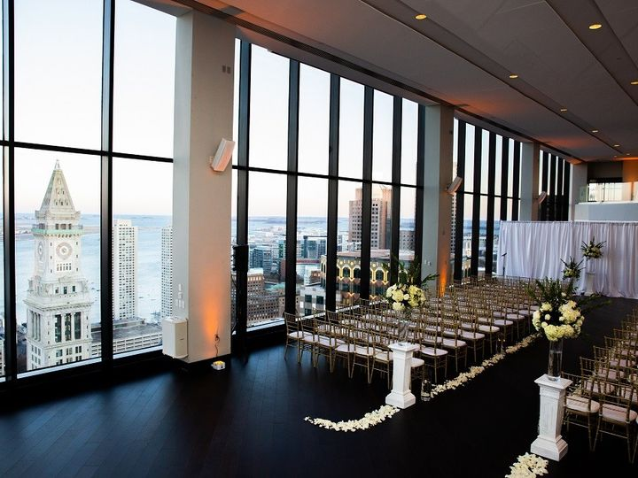 Tmx State Room Great Room Ceremony With Pipe And Drape White Florals Karen Kelly Photography 51 3758 158464387574442 Boston, MA wedding venue