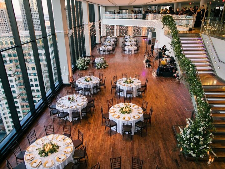 Tmx State Room Great Room Rounds And Rectangles Bistro Lights Greenery On Stairs Zev Fisher 51 3758 158464396124726 Boston, MA wedding venue