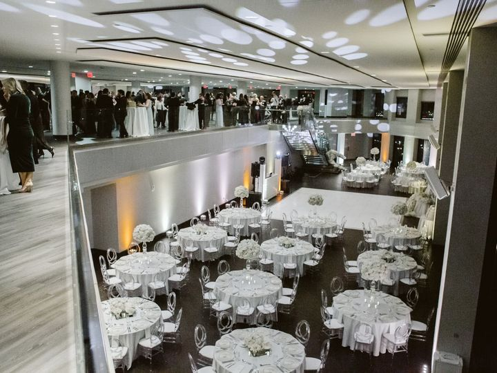 Tmx State Room Great Room Winter White Wedding View Of Room With Guests On Mezz Mark Davidson Photo 51 3758 158464392164806 Boston, MA wedding venue