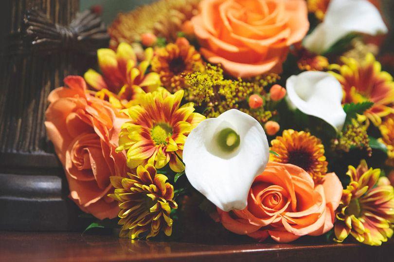 Orange bouquet Kim Marshall Photography
