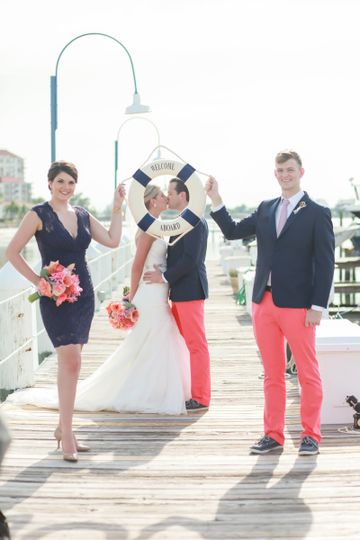 Navy and pink outfits