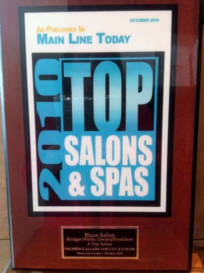 Blaze Salon's Award for Top Salons & Spas by Main Line Magazine.