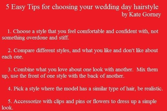 5 Easy Tips for choosing your Wedding Day Hairstyle, by Kate Gorney for Blaze Salon.