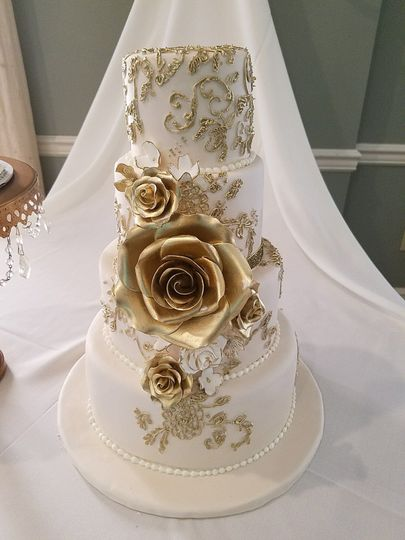 Hand piped gold, gold roses, 50th Anniversary cake