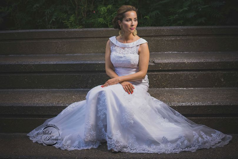 Soft tulle wedding dress with applique