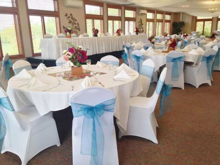 Spandex chair covers with blue